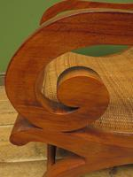 Vintage British Colonial Style Teak & Cane Plantation Chair & Footstool (11 of 17)