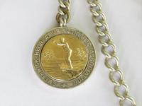 Antique Silver Watch Chain & Swimming Fob (2 of 3)