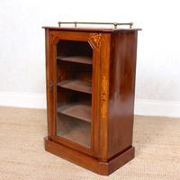 Music Cabinet Glazed Inlaid Walnut Bookcase 19th Century (8 of 10)
