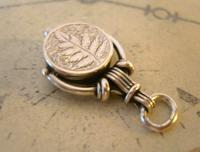 Antique Pocket Watch Chain Silver Compass Fob 1890s Victorian Working Drum Case Fob (8 of 10)
