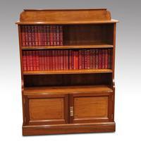 Pair Edwardian Walnut Open Bookcases (5 of 11)