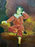 After: Sir Thomas Lawrence 'The Red Boy' Large Portrait Oil Painting (8 of 10)