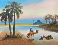 Arabic School - Wonderful Early 20th Century Arabian Camels in Landscape Oil Painting (2 of 12)