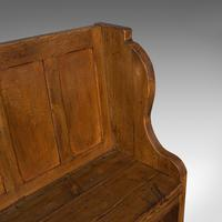 Antique Two Seat Settle, English, Oak, Pine, Ecclesiastic, Pew, Bench, Victorian (10 of 10)