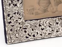 Late Victorian Silver Photo Frame Embossed and Pierced with Scrolls and Floral Scenes (2 of 5)