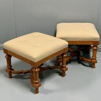 Pair of newly upholstered buttoned stools