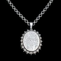 Antique Aesthetic Large Sterling Silver Locket with Belcher Chain Collar