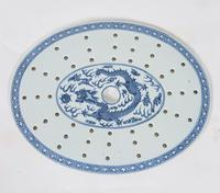 Chinese 19th Century Blue & White Oval Strainer Dish (2 of 7)