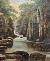 Small Original 19th Century Victorian Woodland River Landscape Oil Painting (4 of 12)