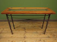 Wrought Iron & Wood Console Table with Glass Insert (2 of 14)