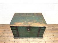 Large Distressed Painted Metal Bound Trunk (2 of 10)