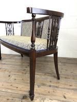 Antique Edwardian Mahogany Inlaid Parlour Sofa (7 of 15)