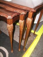 Nest of Three Glass Topped Tables in Mahogany (2 of 2)