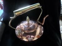 Large Copper & Brass Handled & Finial Kettle 1930's (2 of 3)