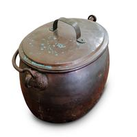 Large Antique Copper Couldron with Lid & Handle (2 of 7)