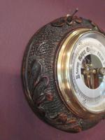 Antique Carved Oak Visible Works Barometer (2 of 5)