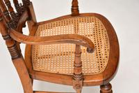 Antique Victorian Carved & Cane Seated Armchair (4 of 11)