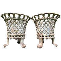 Pair of Coalbrookdale Style Antique Garden Cast Iron Lattice Urn Planters Claw Feet