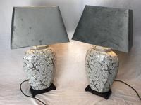 Pair Chinese Cantonese Porcelain Table Lamps With Shades Lighting Christmas Gift (42 of 51)