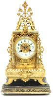 Superb Antique French Ormolu Mantel Candelabra Clock Set Embossed Decoration Finial 8 Day Striking (6 of 15)