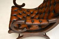 Regency Style Leather Armchair & Stool (7 of 14)