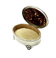 "Sterling Silver & Tortoiseshell 5"" Trinket Box - Mappin & Webb 1931 (8 of 10)"