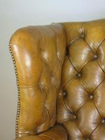 Superb Antique Buttoned Leather Wing Armchair (11 of 11)