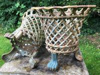 Pair of Fine Antique Edwardian Garden Cast Iron Lattice Urn Planters on 3 Lion Feet (11 of 12)