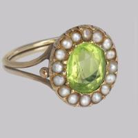 Victorian Peridot & Natural Pearl Cluster Ring 18ct Gold Antique Ring circa 1860 (7 of 8)