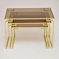1970's Vintage Italian Brass & Glass Nest of 3 Tables (3 of 10)
