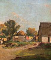 Josef Harencz Farmyard & Horses Landscape Oil Painting (3 of 10)