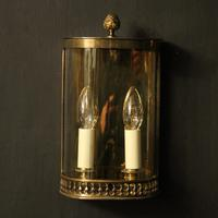 French Pair of Brass Antique Half Wall lanterns (10 of 10)