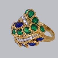 Vintage Diamond and Blue & Green Enamel Ring 18ct Gold Bombé Ring (12 of 21)