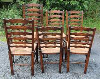1960s Set 6 Ash Ladder Back Dining Chairs 4+2 Carvers (3 of 3)