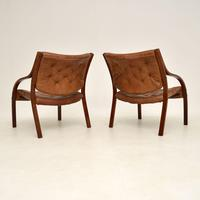 Pair of Scandinavian Bentwood & Leather Vintage Armchairs (12 of 14)