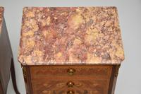 Pair of Antique French Inlaid Marble Top Bedside Chests (11 of 12)