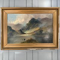 Antique large Scottish landscape oil painting of cottage by loch signed Montgomery Ansell (3 of 10)