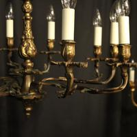 French Gilded Brass 10 Light Antique Chandelier (8 of 10)