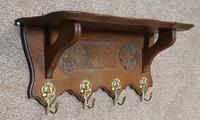 Small Continental Carved Oak Hanging Coat Rack (3 of 7)