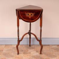 Edwardian Inlaid Rosewood Drop Leaf Occasional Table (14 of 23)