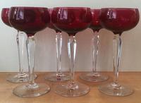 Set of Six Cranberry Wine Glasses (2 of 5)