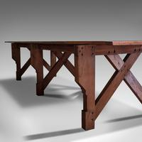 Large 12' Antique Kitchen Table, English, Pine, Industrial, Victorian, 1900 (8 of 12)