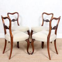 4 Walnut Balloon Dining Chairs 19th Century (7 of 12)