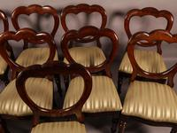 Good Set of 12 Victorian Mahogany Balloon Back Dining Chairs (3 of 8)
