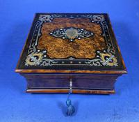 Victorian  French Burr Cedar Jewellery Box with ebonised fruitwood and original interior (2 of 13)