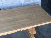 Large French Bleached Oak Trestle Farmhouse Dining Table (13 of 14)