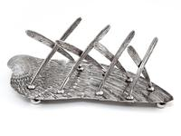 Victorian Silver Plated Toast Rack Shaped as a Bird Wing Engraved with Feathers (3 of 10)
