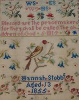 Antique Needlework Sampler Hannah Stobbs 1855 (2 of 4)