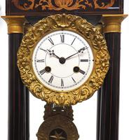 Antique Satinwood Inlaid Mantel Clock Rosewood French Striking Portico Mantle Clock (3 of 11)