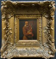 Original 18th Century Miniature Oil on Panel Portrait Painting of Bagpipe Player